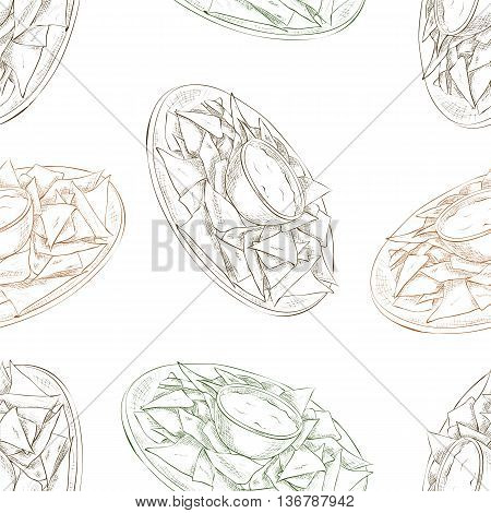 Mexican food seamless pattern background. Nachos scetch background.