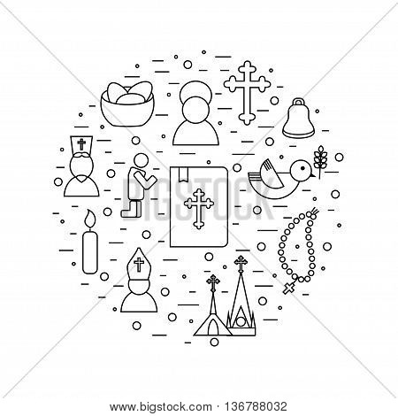 Jesus Christ religion icons set. Christianity pictograms background in round shape