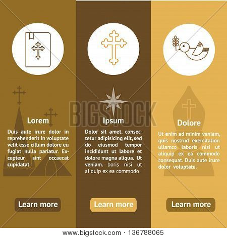 Jesus Christ religion banners set. Christianity vertical banners with text. Can be used for website typography purpose etc.