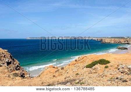 Beach in Sagres, Portugal in the summer