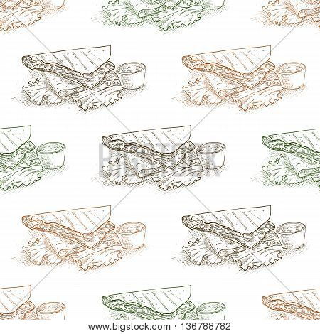 Mexican food seamless pattern background. Quesadilla scetch