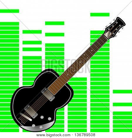 Electronic guitar on the background of the equalizer. Guitar and electric guitar isolated rock guitar for music vector illustration