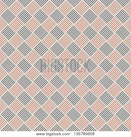 Seamless pattern. Abstract geometric background. Simple elegant blck and red texture with thin lines. Regularly repeating geometrical ornament with linear rhombuses. Vector element of graphical design