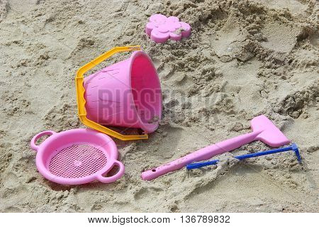 children's set for game in a sandbox. summer holiday on the coast