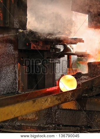 automatic hot stamping process of grinding balls of round billet