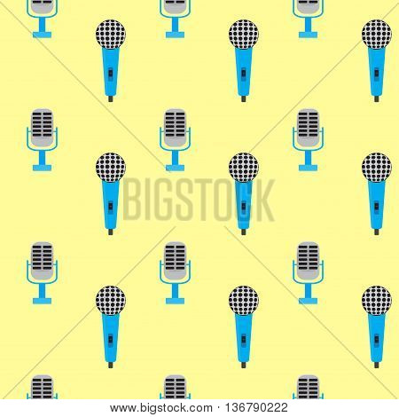 Seamless pattern vintage microphone. Audio pattern and voice studio. Vector illustration