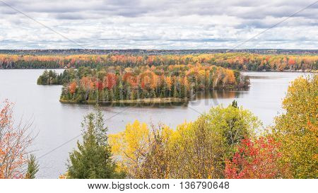 Autumn colors at Lumberman's Monument, on the Highbanks Trail, on the AuSable Scenic Byway, in the Huron National Forest, near Oscoda, Michigan.
