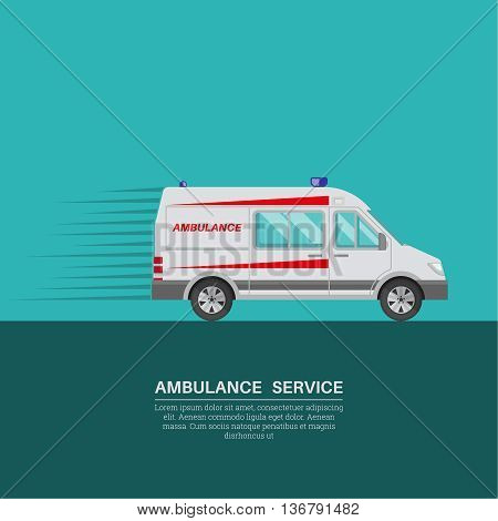 Ambulance car with a banner for the text. Resuscitation vehicle. Car of an emergency quick help. A vector illustration in flat style