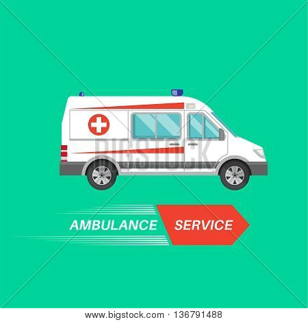 Ambulance car with a banner. Resuscitation vehicle. Car of an emergency quick help. A vector illustration in flat style