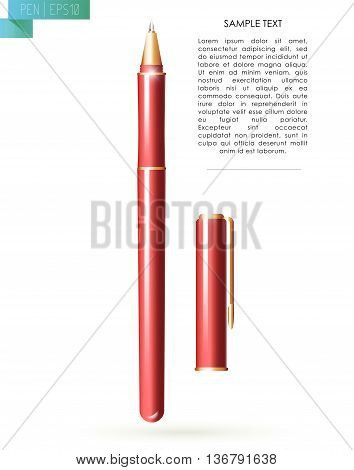 Vector red metal pen tool with cap isolated on white background. Text space. Writing office tool icon. Metal texture. Writing mock up. Pen close up. Text message. Business, writing illustration.