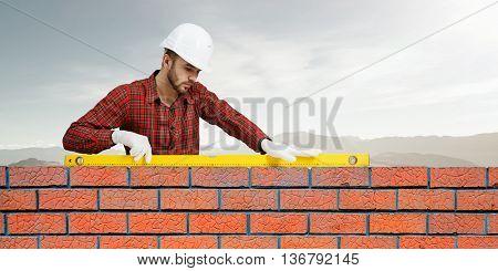 Young engineer man . Mixed media