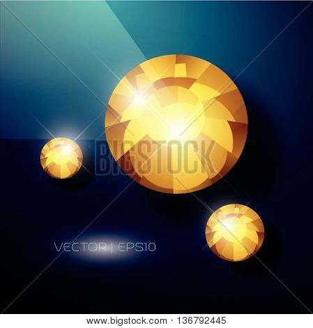 Vector rhinestone gem mock up. Jewelry crystal stone diamond shining illustration. Close up. Rhinestone isolated. Gradient soft light. Glass gem mock up illustration. Jewelry advertising, pattern element