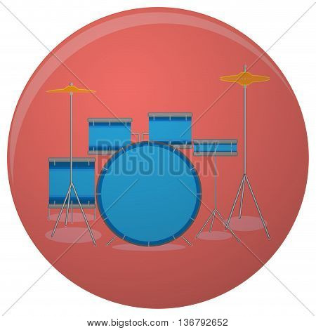 Drum set icon flat. Drum kit and music musical instruments vector illustration