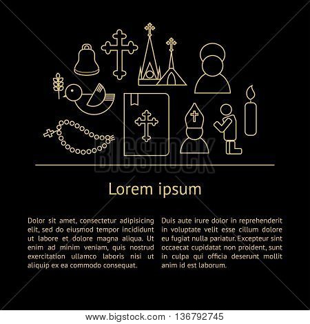 Jesus Christ religion background with text. Christianity outline pictograms. Luxury style