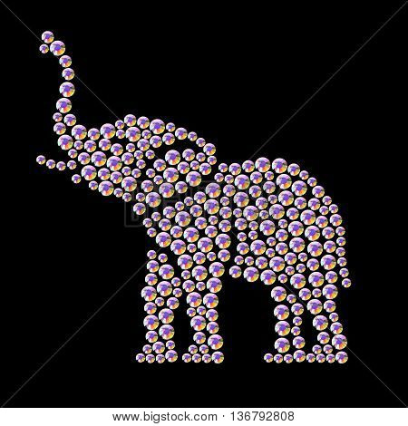 Vector animal portrait made with rhinestone gems isolated on black background. Animal logo, african animal icon. Jewelry pattern, hand made product. Shining pattern. Animal silhouette, elephant stand.