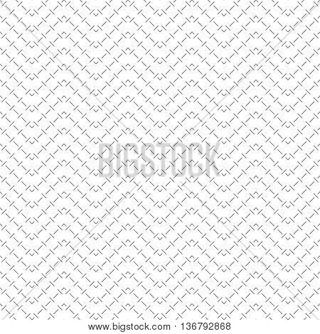 Seamless pattern. Abstract linear geometrical background. Stylish simple black and white texture with repeating thin dashed zigzag lines. Vector element of graphical design