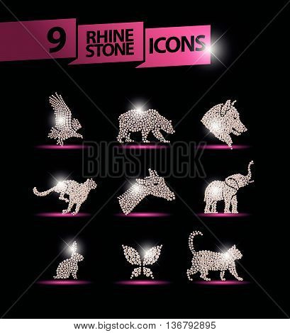 Vector animal portrait made with rhinestone gem set isolated on black background. Animal logo, animal icon. Jewelry pattern, hand made product. Shine pattern. Animal silhouette, flying bird icon.
