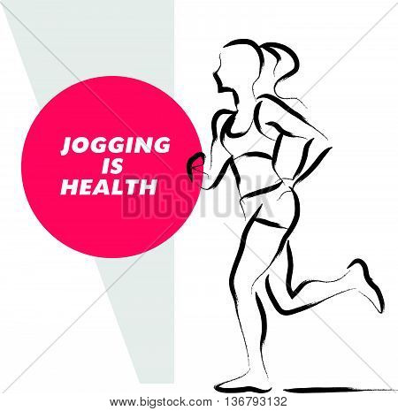 Vector hand drawn active people sketch isolated on white background. Running woman silhouette. Ink drawing. Sportsman figure. Human jogging. Brush stroke, contour drawing. Artistic sport logo element.
