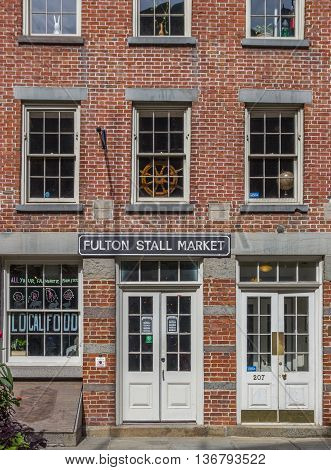 NEW YORK CITY, USA - SEPTEMBER 28, 2015: Shop at the South Street Seaport historical district