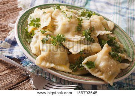 Maultaschen Dumplings Stuffed With Meat And Spinach Closeup. Horizontal