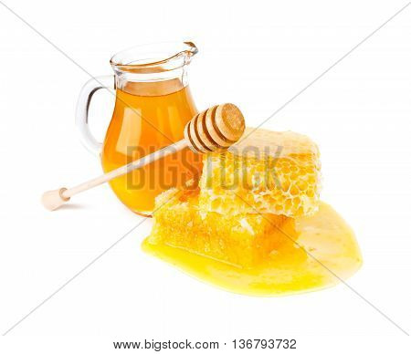 Fresh honey with honeycomb on whie background
