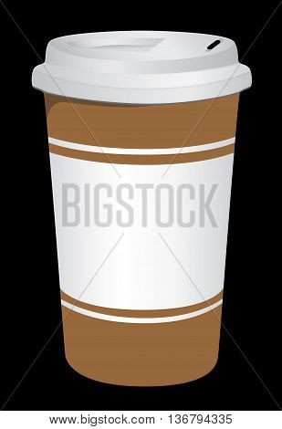 Plastic coffee cup with hot coffee . Vector illustration