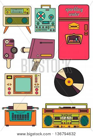 set of color vintage flat electronic icons 80-90s. Vector EPS