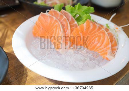 close up salmon sashimi japanese style cuisine
