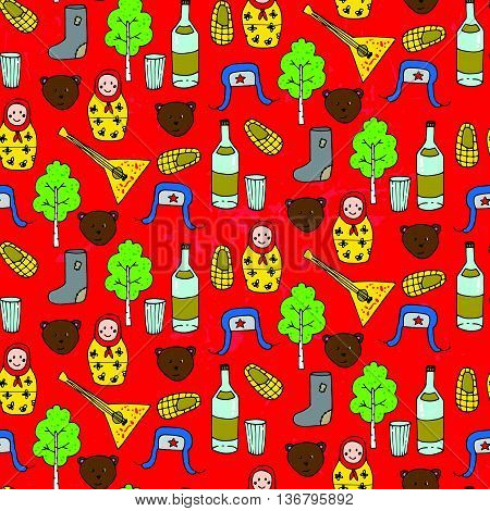 Seamless Pattern With Different Russian Elements.
