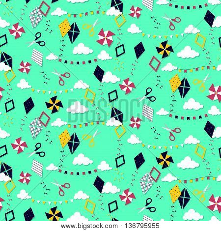 Seamless Pattern With Different Kites