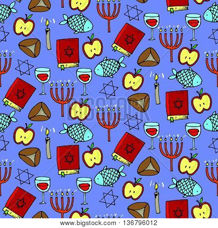 Seamless Pattern With Different Jewish Elements