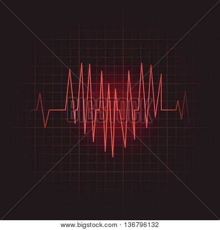 Medical icon of heart shape cardiogram. Vector illustration