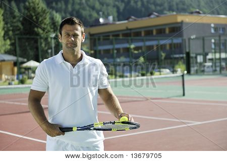 Young Man Play Tennis
