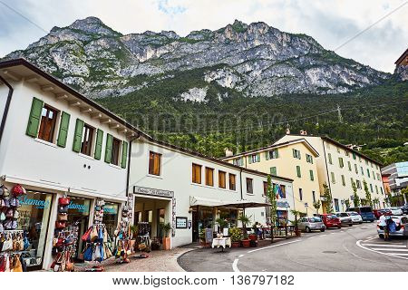 Riva del Garda, Italy - June 27, 2016: Landscapes, photos of Riva Del Garda. with pretty houses