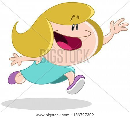 Girl running with an outstretched arm trying to catch, reach or grab something or someone