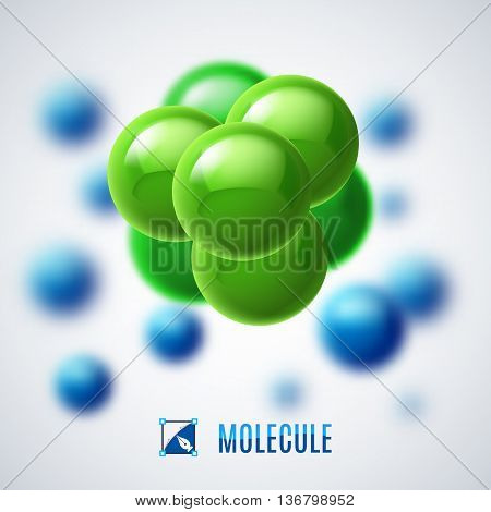Green and blue molecular structure. Illustration with blur effect