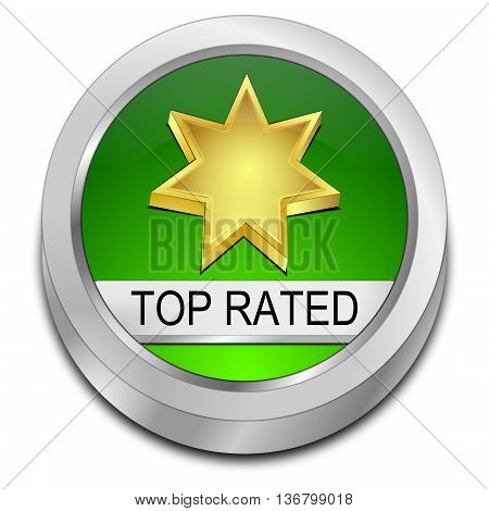 green Top Rated Button - 3D illustration