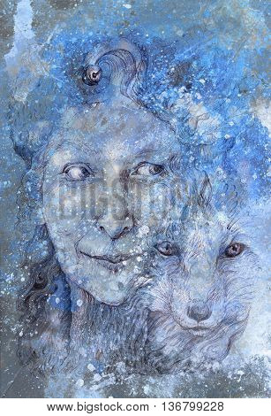 Wise shamanic woman forest goddess, with a second nature of a fox, beautiful monochromatic detailed linear drawing, with leaves and ornamental structures, eye contact