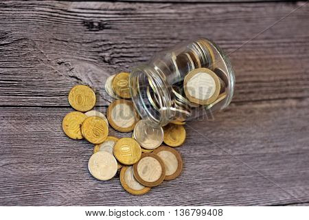 Money russian golden coins on wooden table