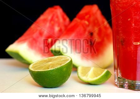 Healthy Fresh Smoothie Drink From Red Watermelon, Lime, Mint And Ice Drift