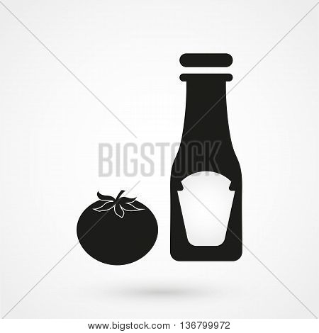 Ketchup Icon On White Background In Flat Style. Simple Vector