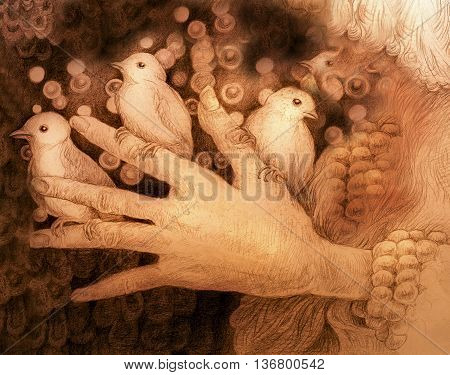 three little birds sitting on fingers of a hand, monochromatic drawing.
