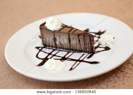 Chocolate Cheesecake On Plate