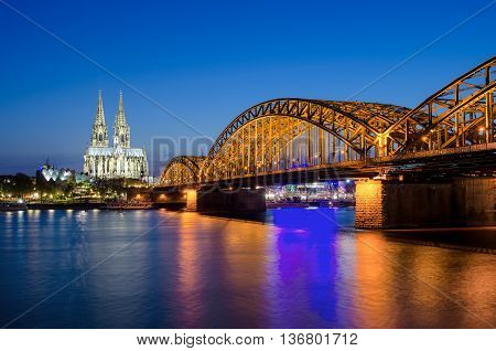 Cologne Cathedral and Hohenzollern Bridge Cologne Germany.