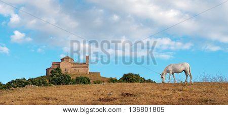 Sant Llorenc del Munt Benedictine monastery Catalonia Spain.