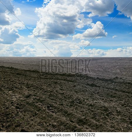 A plowed field and  blue cloudy sky