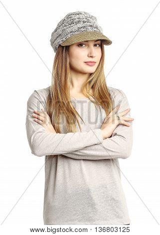 Portrait Of Woman On White Background Wearing Headwear