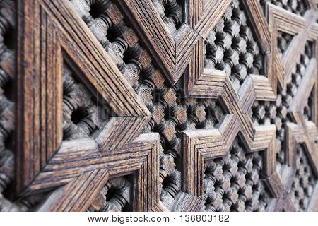 Beautiful Hand Carved Wooden Door In Marrakech, Morocco