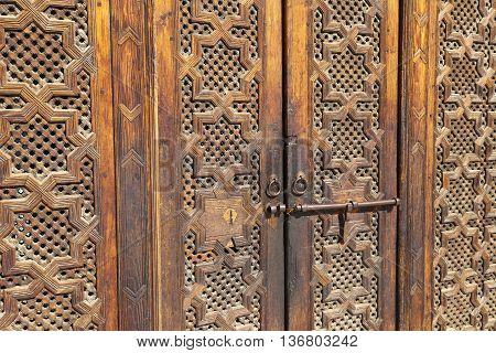 Beautiful hand carved wooden door in Marrakech Morocco