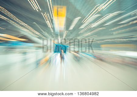 Blurred Motion Background : Traveler At Airport Terminal Check-in Departure Blur Background With Bok